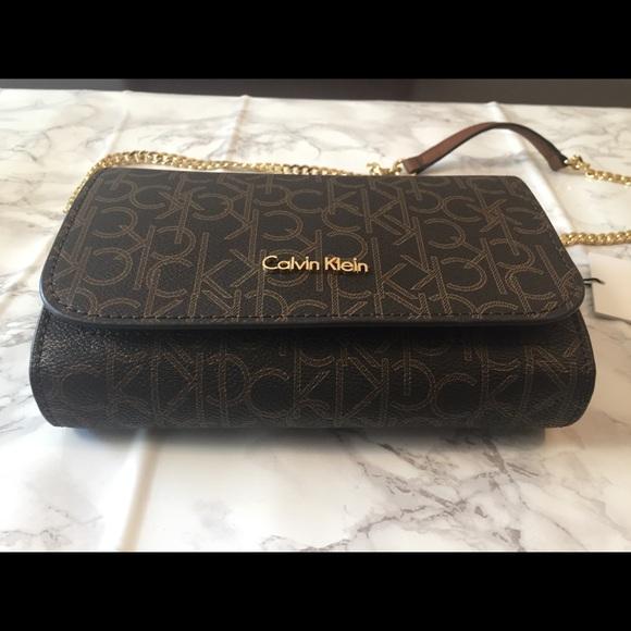 8d9eb8e138 Calvin Klein Bags   Nwt Ck Brown Logo Crossbody Bag   Poshmark